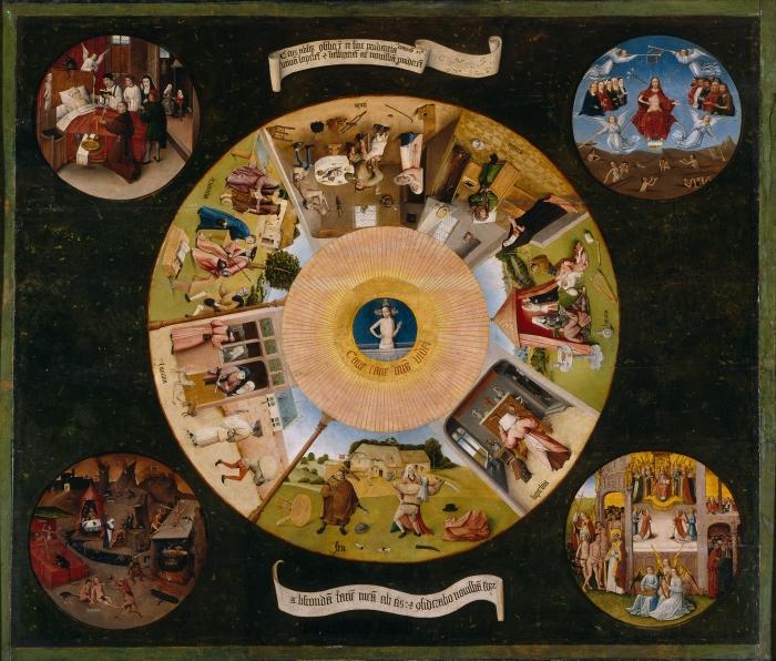 Jérôme Bosch, Les Sept Péchés capitaux et les Quatre Dernières Étapes humaines, vers 1450, musée du Prado, Madrid