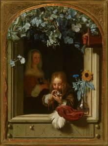 Mieris Frans Van Un Garçon soufflant des bulles 1663