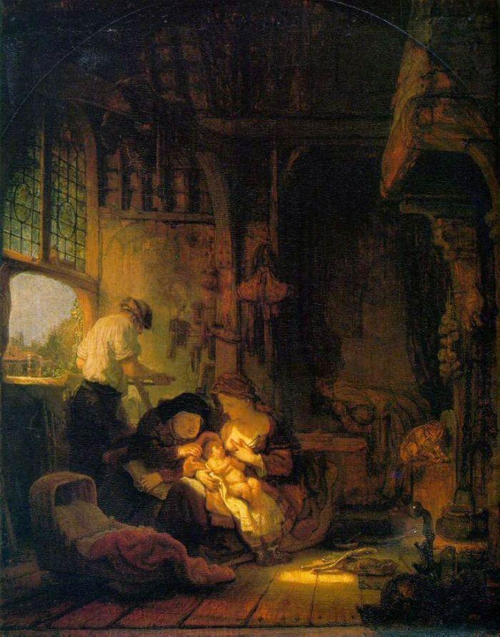 REMBRANDT La Sainte Famille ou Le Ménage du menuisier 1640 34 x 41 cm