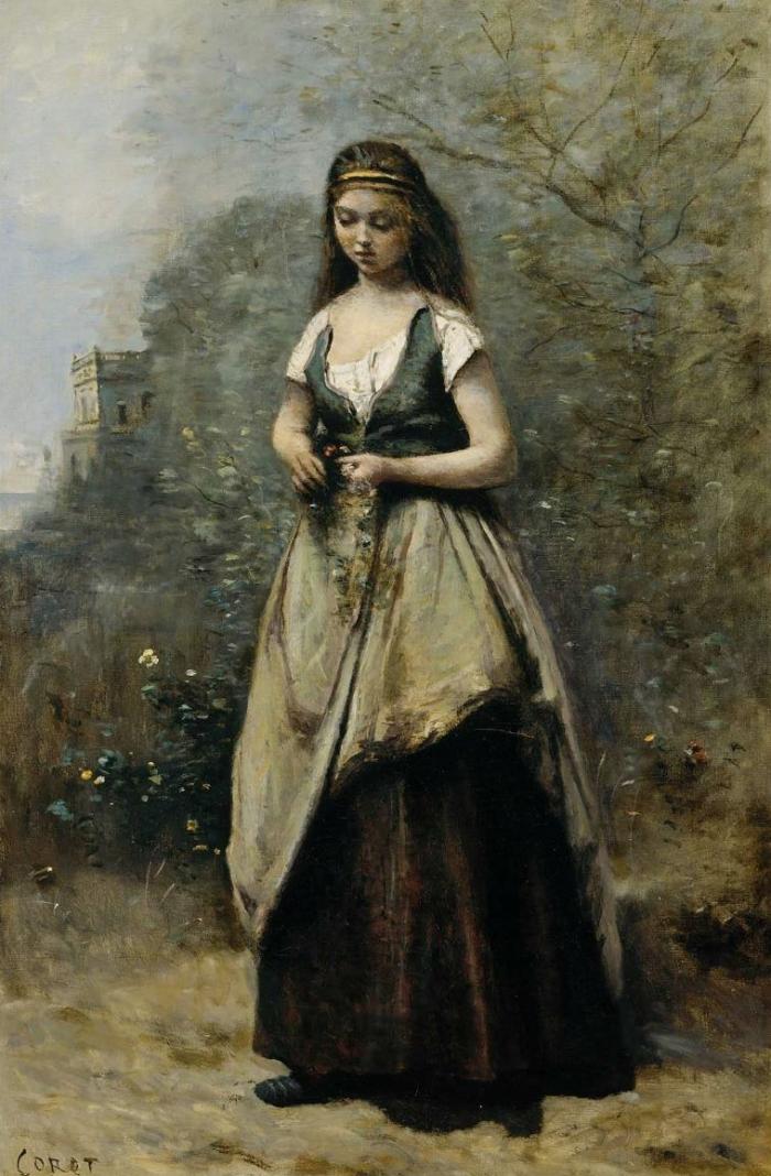 Jean Baptiste Corot Jeune femme tressant une couronne de fleurs (1870)