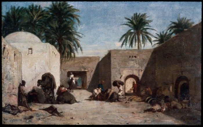 """Eugène FROMENTIN """"Khan"""" à Alger, date inconnue, huile sur toile, 34x54 cm, Museum of fine art Boston."""