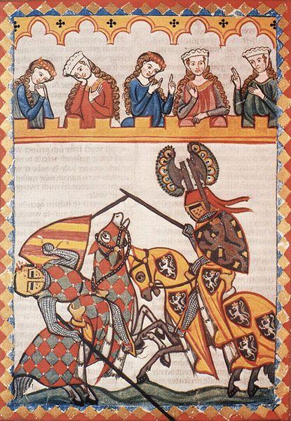 Walter Von Klingen, chevalier de la cour du Roi Rodolphe 1er,lors d'un tournoi. source Meister der Manessischen Liederhandschrift © The…