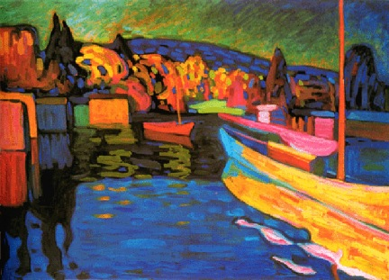 V. KANDINSKY Paysage d'automne avec bateaux (1908)