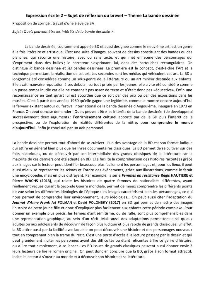 3- Se Raconter EXPRESSION ECRITE 2 Corrigé DEGUFFROY Sujet de réflexion du brevet BD-page-001