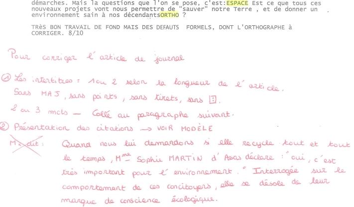 4- S'informer Presse EXPRESSION ECRITE 6 Article de presse CRITERE copie élève