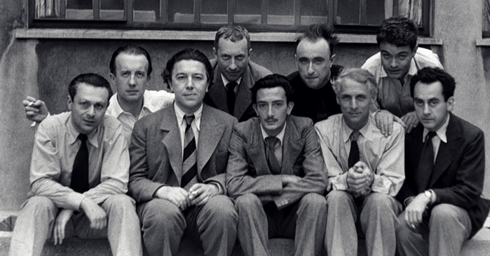 Tristan-Tzara-Paul-Eluard-Andre-Breton-Max-Ernst-Salvador-Dali-Yves-Tanguy-Hans-Arp-Rene-Crevel-y-Man-Ray